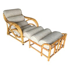 "Restored Two-Strand ""1940s Transition"" Rattan Chaise Lounge"