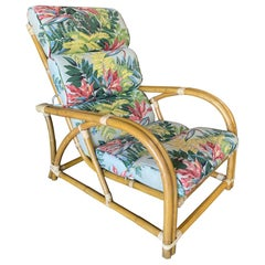"""Restored Two-Strand """"40s Transition"""" Rattan Cup Seat Lounge Chair"""
