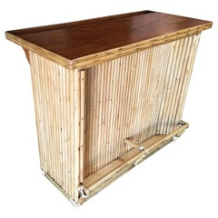 Restored Vertically Stacked Rattan Bar with Mahogany Top
