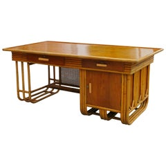 Restored Very Large Streamline Rattan Desk