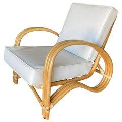"Restored Very Rare Three-Strand ""P-Arm"" Rattan Lounge Chair"