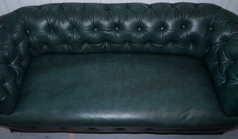 Restored Victorian 1890 Cornelius V Smith Chesterfield Leather Sofa Coil Sprung For Sale 4