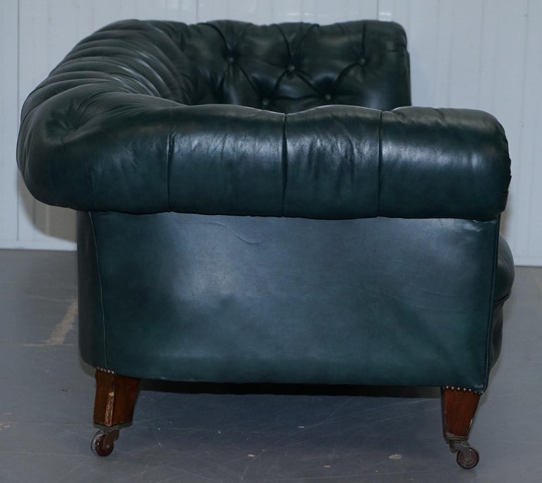 Restored Victorian 1890 Cornelius V Smith Chesterfield Leather Sofa Coil Sprung For Sale 5
