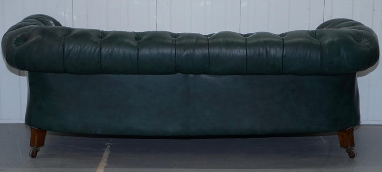 Restored Victorian 1890 Cornelius V Smith Chesterfield Leather Sofa Coil Sprung For Sale 6