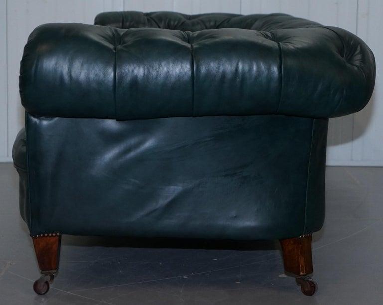 Restored Victorian 1890 Cornelius V Smith Chesterfield Leather Sofa Coil Sprung For Sale 7