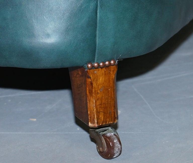 Restored Victorian 1890 Cornelius V Smith Chesterfield Leather Sofa Coil Sprung For Sale 9