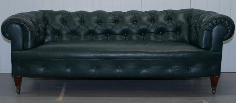 We are delighted to offer for sale this lovely rare original restored Victorian 1890 Cornelius V Smith green leather Chesterfield sofa  What can I say, if you're in the market for the best Victorian Chesterfield sofas in the world there are a few