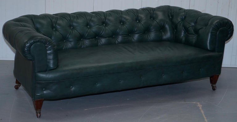 High Victorian Restored Victorian 1890 Cornelius V Smith Chesterfield Leather Sofa Coil Sprung For Sale