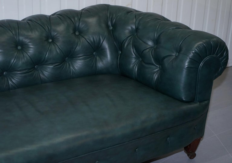 Hand-Carved Restored Victorian 1890 Cornelius V Smith Chesterfield Leather Sofa Coil Sprung For Sale