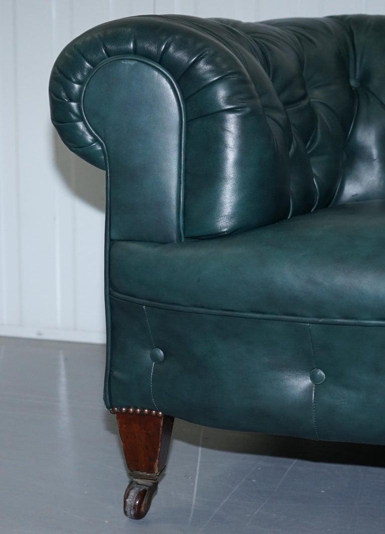 19th Century Restored Victorian 1890 Cornelius V Smith Chesterfield Leather Sofa Coil Sprung For Sale