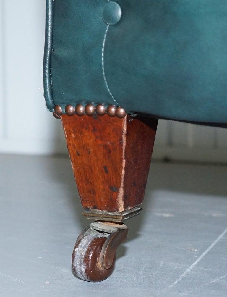 Restored Victorian 1890 Cornelius V Smith Chesterfield Leather Sofa Coil Sprung For Sale 1