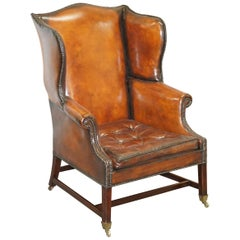Restored Victorian Brown Leather Chesterfield Chippendale Wingback Armchair