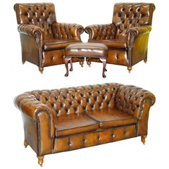 Restored Victorian Brown Leather Chesterfield Club Armchair Drop Arm Sofa Suite