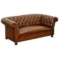 Restored Victorian Drop Arm Chesterfield Buttoned Hand Dyed Brown Leather Sofa