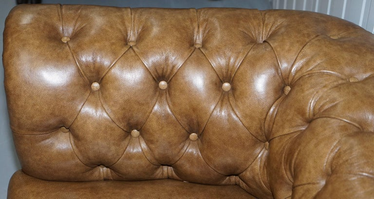 Restored Victorian Walnut Framed Chesterfield Club Sofa Heritage Brown Leather For Sale 4
