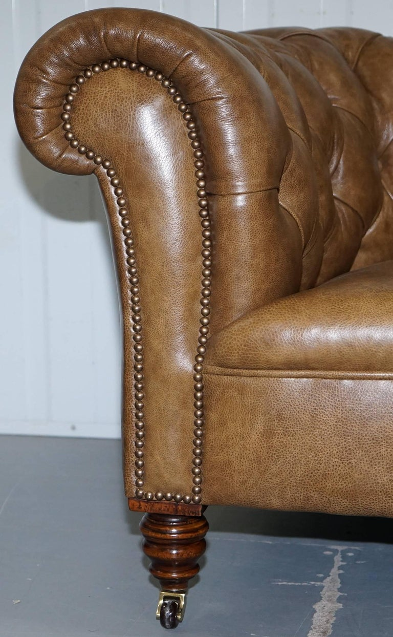 Restored Victorian Walnut Framed Chesterfield Club Sofa Heritage Brown Leather For Sale 5