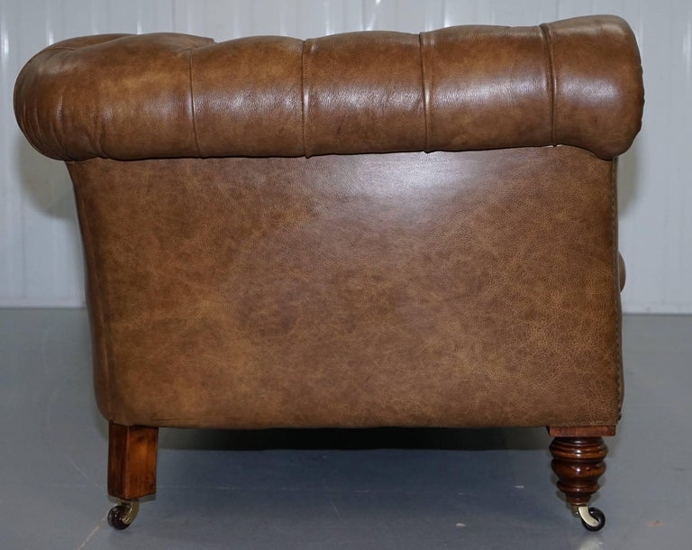 Restored Victorian Walnut Framed Chesterfield Club Sofa Heritage Brown Leather For Sale 9