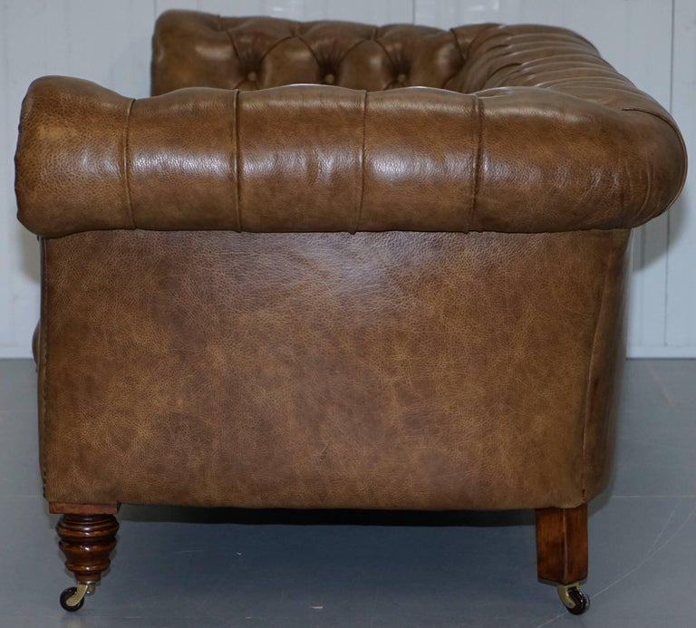 Restored Victorian Walnut Framed Chesterfield Club Sofa Heritage Brown Leather For Sale 10