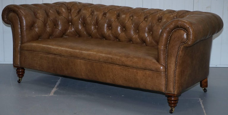 English Restored Victorian Walnut Framed Chesterfield Club Sofa Heritage Brown Leather For Sale