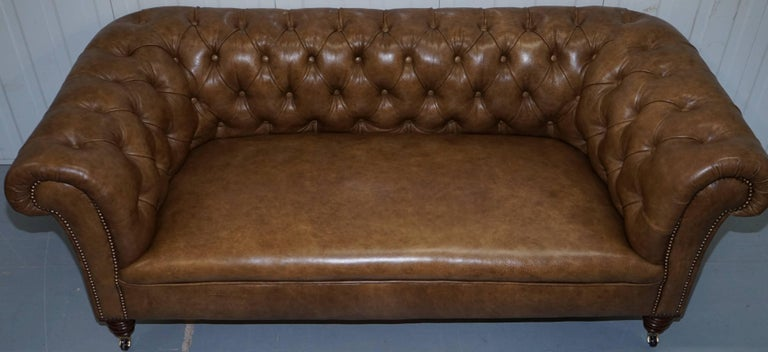 Hand-Crafted Restored Victorian Walnut Framed Chesterfield Club Sofa Heritage Brown Leather For Sale