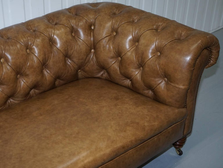 Restored Victorian Walnut Framed Chesterfield Club Sofa Heritage Brown Leather In Excellent Condition For Sale In London, GB