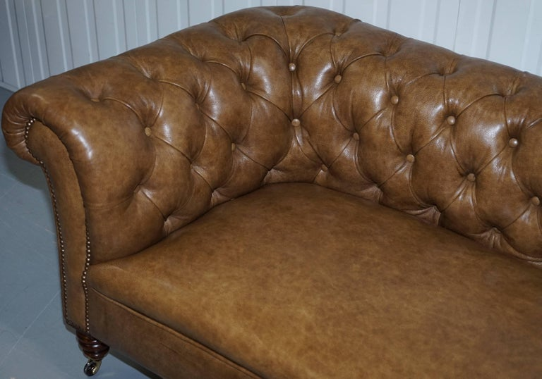 19th Century Restored Victorian Walnut Framed Chesterfield Club Sofa Heritage Brown Leather For Sale