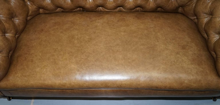 Restored Victorian Walnut Framed Chesterfield Club Sofa Heritage Brown Leather For Sale 1