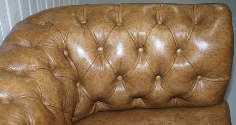 Restored Victorian Walnut Framed Chesterfield Club Sofa Heritage Brown Leather For Sale 2