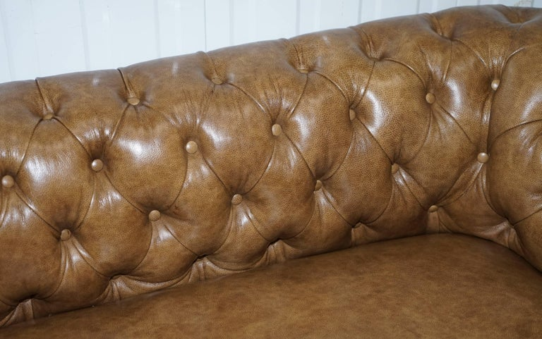Restored Victorian Walnut Framed Chesterfield Club Sofa Heritage Brown Leather For Sale 3