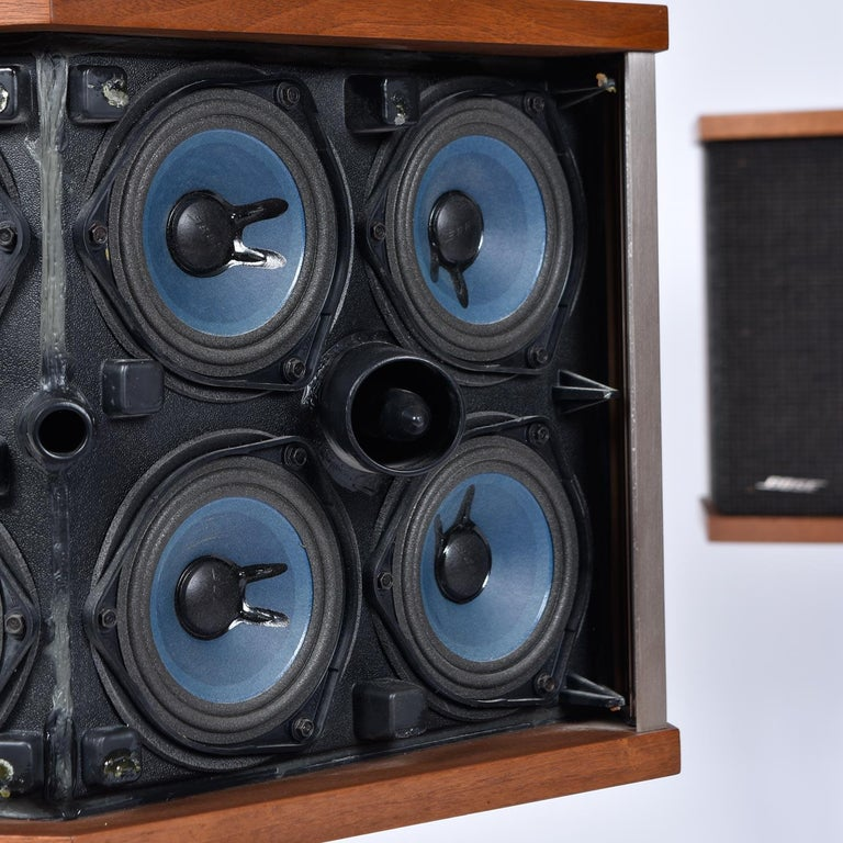 Restored Vintage 1983 Bose 901 Series V Speakers with Tulip Stands and Equalizer 4