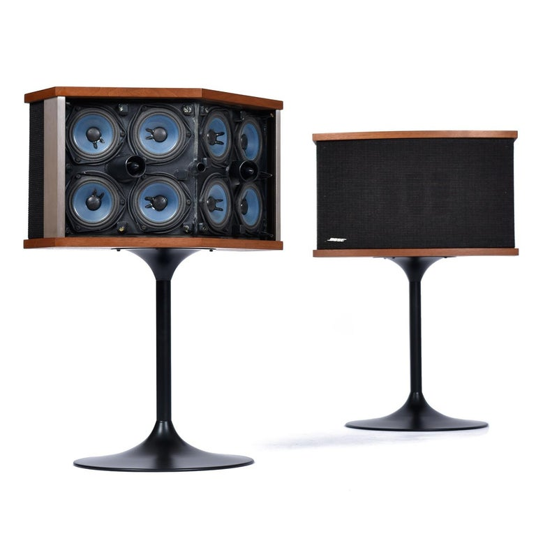 Pair of restored vintage Bose 901 Series V (8 Ohm, wired) speakers on Eero Saarinen style tulip bases. The manual copyright is dated
