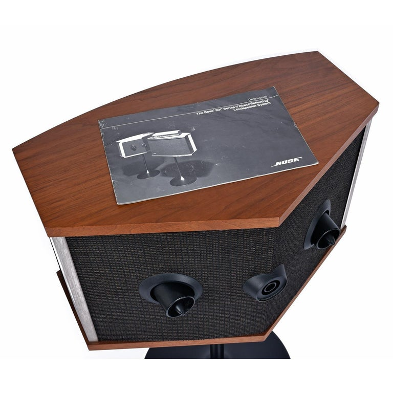 Metal Restored Vintage 1983 Bose 901 Series V Speakers with Tulip Stands and Equalizer