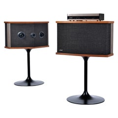 Restored Vintage 1983 Bose 901 Series V Speakers with Tulip Stands and Equalizer