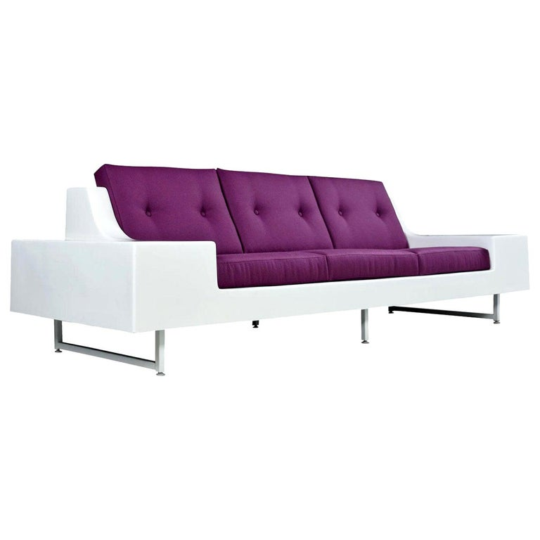 Restored Vintage Fiber Foam Sofa by Homecrest in New Plum Knoll Fabric For Sale