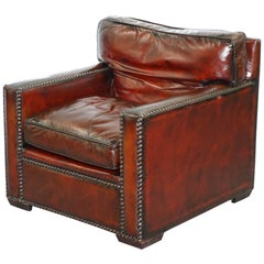 Restored Vintage Handmade in Chelsea Bordeaux Leather Armchair Part of Suite