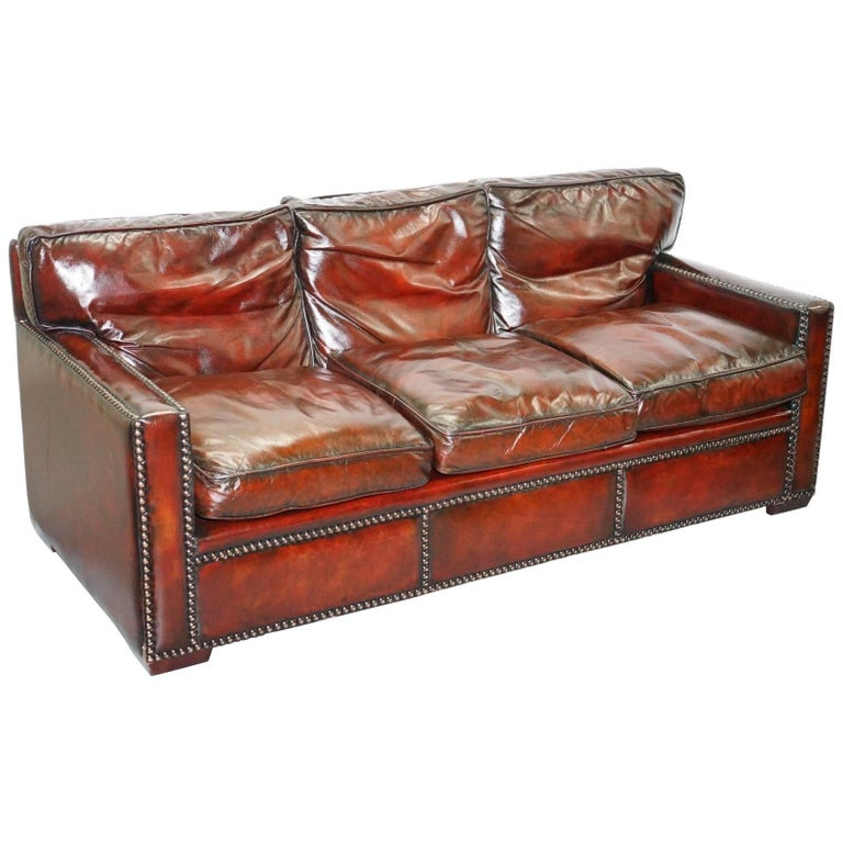 Red Vintage Handmade In Chelsea Bordeaux Leather Sofa Part Of Huge Suite For