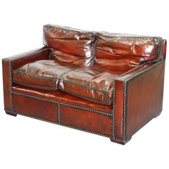 Restored Vintage Handmade in Chelsea Bordeaux Leather Sofa Part of Huge Suite