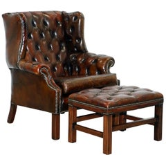 Restored Vintage Handmade in England Chesterfield Wingback Armchair & Footstool