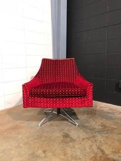 Excellent Restored Vintage Mid Century Modern Swivel Chair Velvet And Walnut Theyellowbook Wood Chair Design Ideas Theyellowbookinfo