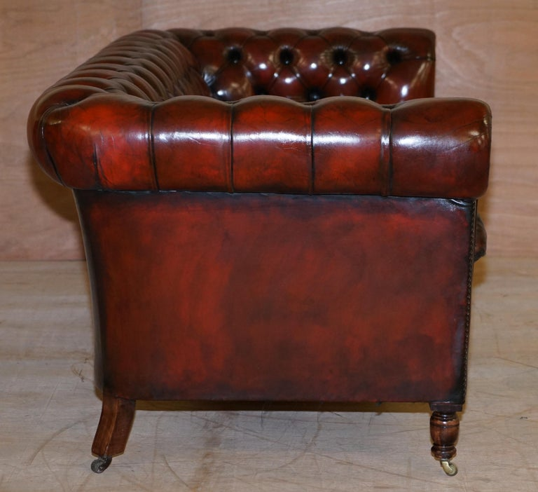 Restored Vintage Oxblood Bordeaux Leather Chesterfield Club Sofa on Turned Legs For Sale 6