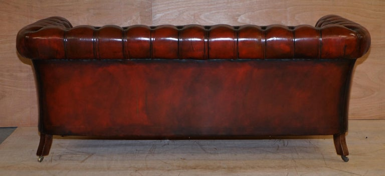 Restored Vintage Oxblood Bordeaux Leather Chesterfield Club Sofa on Turned Legs For Sale 8