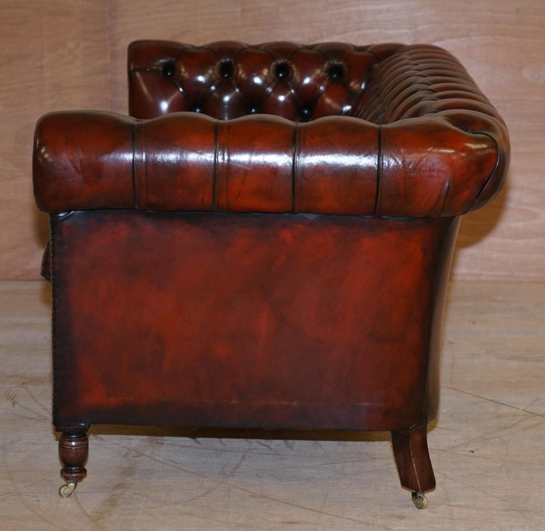Restored Vintage Oxblood Bordeaux Leather Chesterfield Club Sofa on Turned Legs For Sale 9