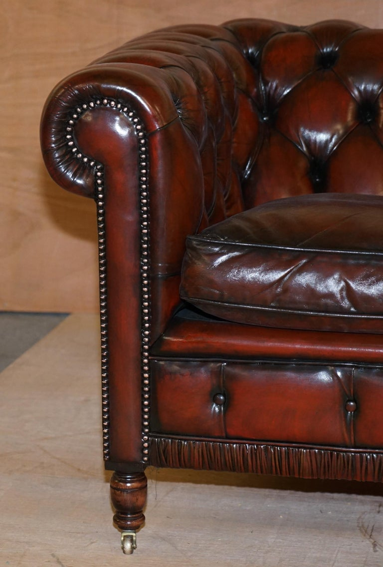 Restored Vintage Oxblood Bordeaux Leather Chesterfield Club Sofa on Turned Legs For Sale 2