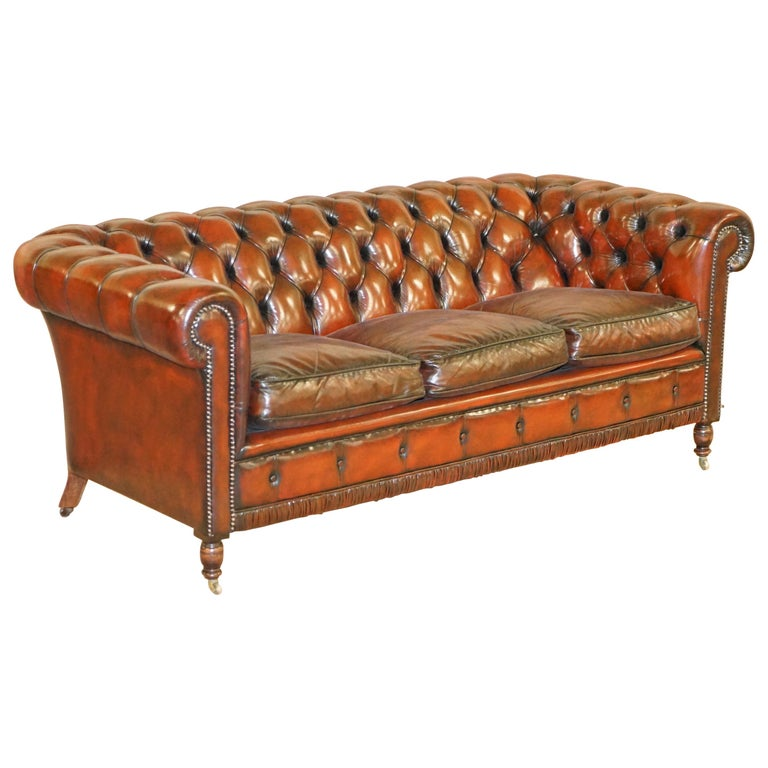 Restored Vintage Oxblood Bordeaux Leather Chesterfield Club Sofa on Turned Legs For Sale