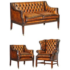 Restored Whiskey Brown Leather Chesterfield Club Wingback Armchair & Sofa Suite