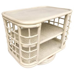 Restored White Painted Midcentury Rattan Side Table Bookshelf