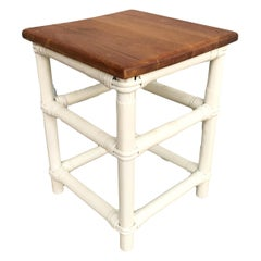 Restored White Painted Rattan Cocktail Side Table with Mahogany Top