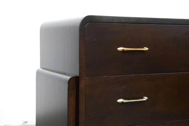 Restored Widdicomb Streamline Moderne Chest of Drawers, circa 1940s, Signed For Sale 7