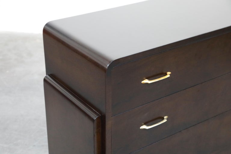 Restored Widdicomb Streamline Moderne Chest of Drawers, circa 1940s, Signed For Sale 11