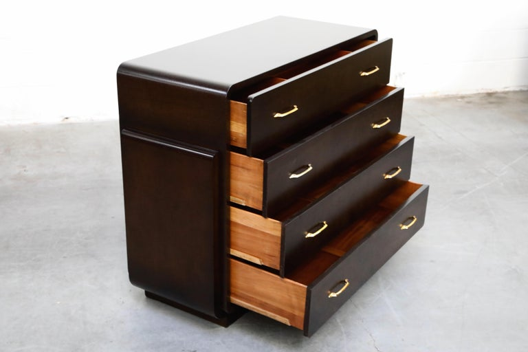 Mid-20th Century Restored Widdicomb Streamline Moderne Chest of Drawers, circa 1940s, Signed For Sale
